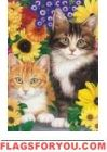Cats / Flowers House Flag
