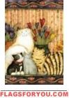 Cats In The Parlor Garden Flag