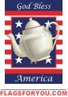 Patriotic Tea Pot Garden Flag