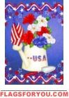Patriotic Petunias House Flag