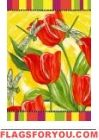 Tulips and Dragonflies House Flag