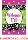 Welcome Y'all Zebra Stripe Garden Flag