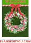 Peppermint Wreath Garden Flag