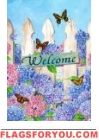 Hydrangea Welcome House Flag