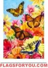 Butterfly Floral House Flag