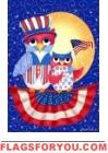 Patriotic Owls House Flag