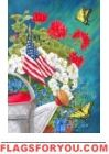 Patriotic Floral House Flag