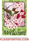 Floral Hummingbird House Flag