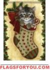 Kitten Stocking House Flag