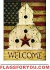 Americana Birdhouse House Flag
