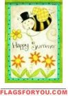 Happy Summer Bee House Flag