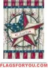 Patriotic Barn Star House Flag