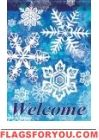 Ice Blue Snowflakes Garden Flag