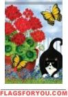 Geraniums & Cat Garden Flag