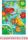 Watercolor Birds Garden Flag