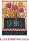 Folk Spring Flowers Garden Flag