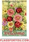Ladybugs & Zinnias House Flag