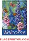 Butterfly & Delphinium House Flag