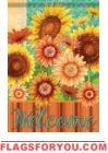 Welcome Sunflowers Glitter Garden Flag