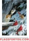 Cardinals & Cats Glitter Garden Flag