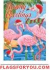 Holiday Flamingos Glitter Garden Flag