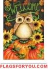 Welcome Autumn Owl Glitter Garden Flag
