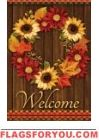 Golden Floral Wreath Garden Flag
