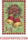 Christmas Plaid Bells Garden Flag
