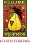 Pear & Crow Welcome Friends House Flag -2 left