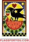 Watermelon & Crow Garden Flag - 2 left