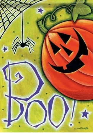 Boo Pumpkin & Spider House Flag