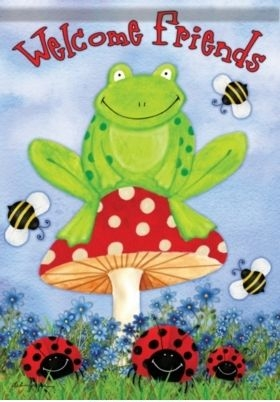 Frog On Toadstool House Flag