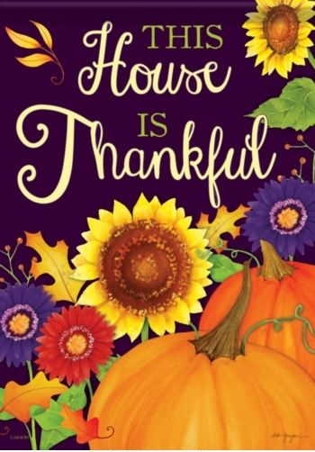 This House Is Thankful Garden Flag