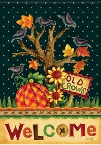 Old Crows Welcome Garden Flag