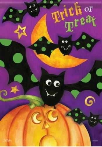 Trick Or Treat Bat Garden Flag