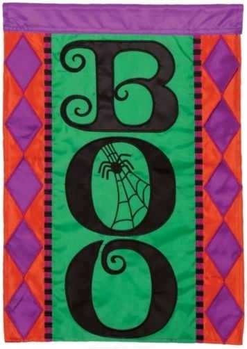 Halloween Boo Applique Garden Flag