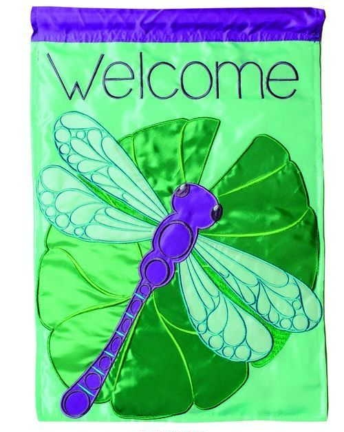 Dragonfly & Lilypad Applique House Flag