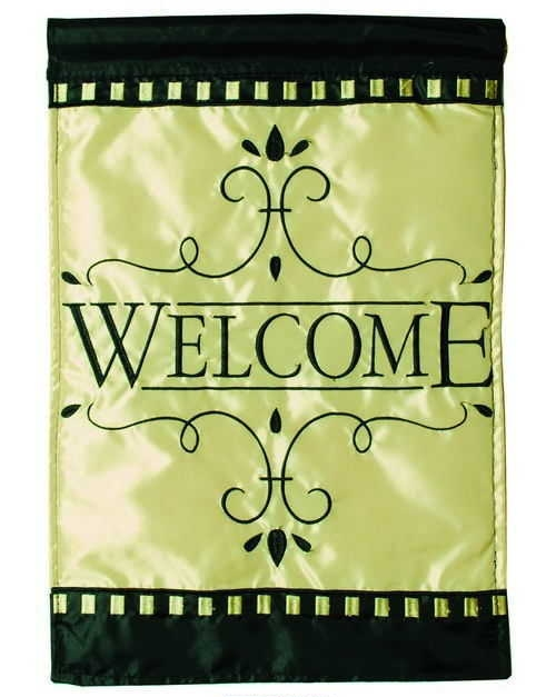 Classic Welcome Applique House Flag