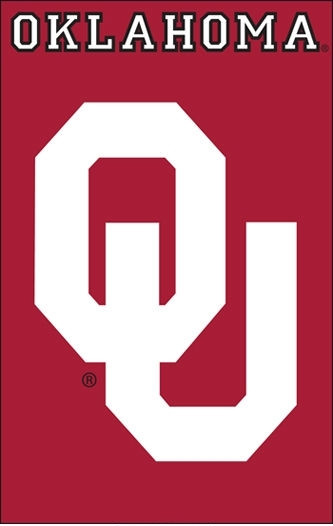 "Oklahoma Sooners Applique Banner Flag 44"" x 28"""