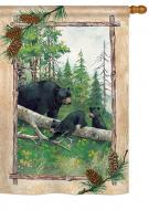 Black Bear & Cubs House Flag