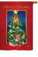 Merry Christmas Tree House Flag
