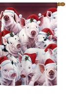 Christmas Piggies House Flag