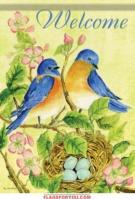 Watercolor Bluebirds House Flag