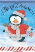 Merry Christmas Penguin Glitter Garden Flag