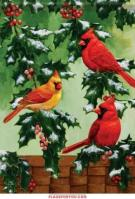 Holly & Cardinals Glitter Garden Flag