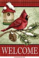 Cardinals & Pine Birdhouse House Flag