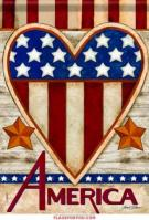 Patriotic Heart House Flag