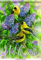 Goldfinches & Lilacs House Flag