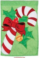 Candy Cane Christmas Single Applique Garden Flag