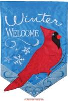 Winter Cardinal Applique Garden Flag
